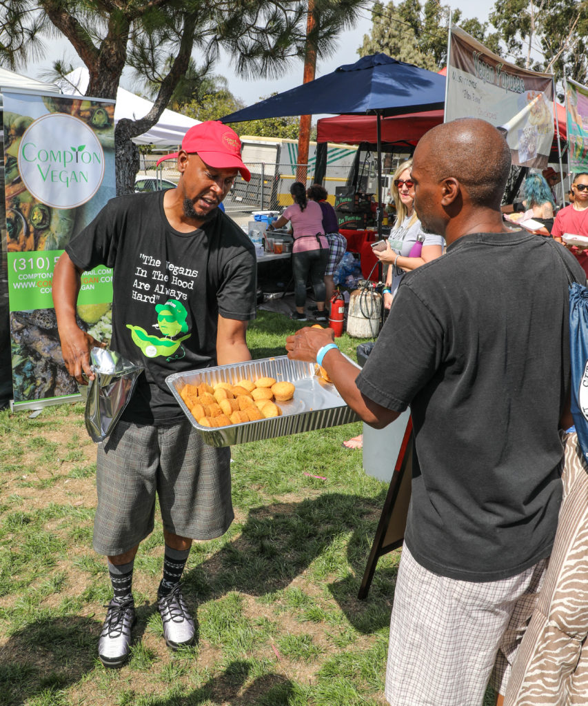Compton Vegan Owner/Chef Lemel Durrah handed out free cornbread to festival goers after he sold out of main dishes.